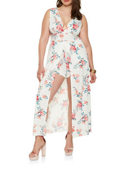 Plus Size Floral Maxi Romper - IVORY - 0392038348889