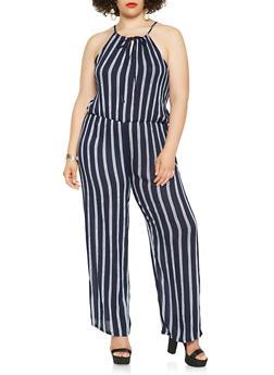 Plus Size Striped Wide Leg Jumpsuit - 0392038349337