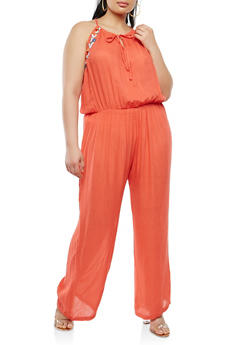 Plus Size Embroidered Gauze Knit Jumpsuit - 0392038349338