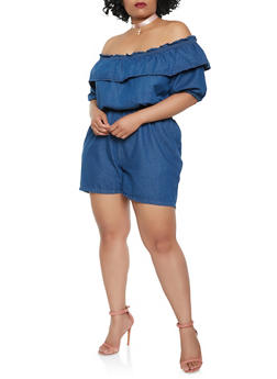 Plus Size Off the Shoulder Denim Romper - 0392038349340