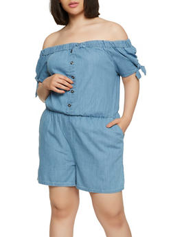 Plus Size Off the Shoulder Denim Romper - 0392038349342