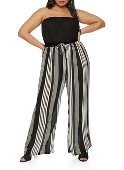 Plus Size Striped Wide Leg Jumpsuit - 0392038349343