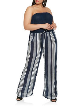 Plus Size Striped Wide Leg Jumpsuit - 0392038349343