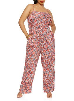 Plus Size Printed Wide Leg Jumpsuit - 0392038349345