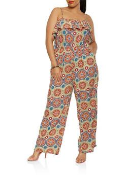 Plus Size Printed Wide Leg Jumpsuit - 0392038349345