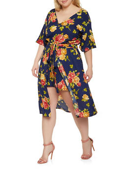 Plus Size Floral Romper with Midi Skirt Overlay - 0392038349346