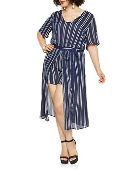 Plus Size Tie Waist Striped Romper - 0392038349348