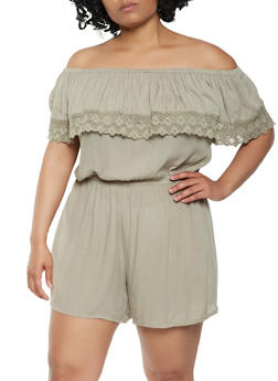 Plus Size Crochet Trim Off the Shoulder Romper - 0392038349363