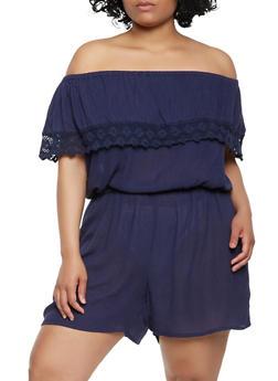 Plus Size Crochet Trim Off the Shoulder Romper - 0392038349363