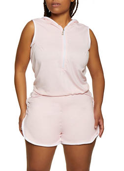 Plus Size Sleeveless Hooded Zip Front Romper - 0392038349620