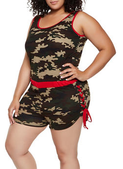 Plus Size Soft Knit Lace Up Camo Romper - 0392038349626