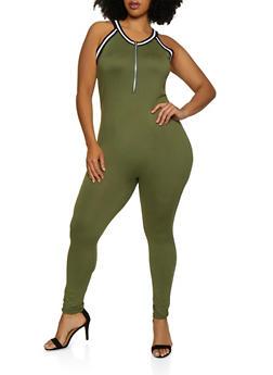 Plus Size Zip Front Soft Knit Jumpsuit - 0392038349636