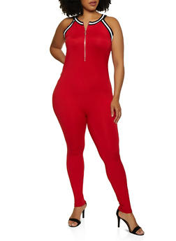 Plus Size Zip Front Soft Knit Jumpsuit - 0392038349636