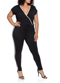 Plus Size Faux Wrap Varsity Stripe Jumpsuit - 0392038349643