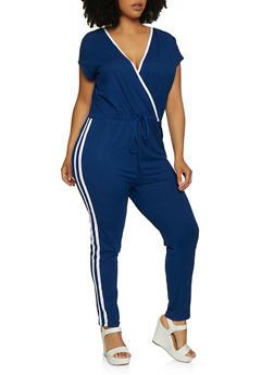 Plus Size Faux Wrap Varsity Stripe Jumpsuit - 0392038349643