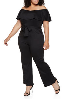 Plus Size Off the Shoulder Soft Knit Jumpsuit - 0392038349646