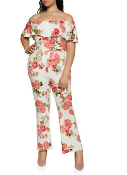 Plus Size Ruffled Printed Off the Shoulder Jumpsuit - 0392038349650