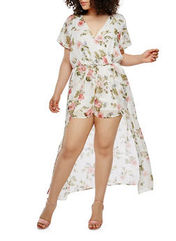 Plus Size Floral Maxi Romper with Short Sleeves - IVORY - 0392051060998