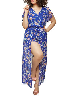 Plus Size Floral Maxi Romper with Short Sleeves - RYL BLUE - 0392051060998