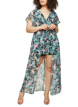 Plus Size Floral Maxi Romper with Short Sleeves - BLACK MULTI - 0392051060998
