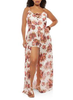 Plus Size Floral Maxi Romper - IVORY - 0392051061092