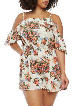 Plus Size Floral Off the Shoulder Romper - 0392051061122