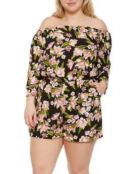 Plus Size Printed Off the Shoulder Romper - 0392051061207