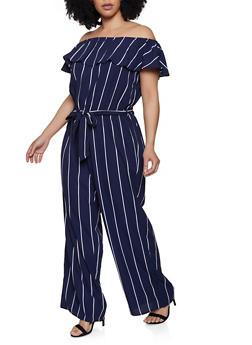 Plus Size Off the Shoulder Striped Jumpsuit   0392051061245 - 0392051061245