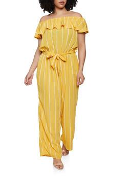 Plus Size Off the Shoulder Striped Jumpsuit | 0392051061245 - 0392051061245