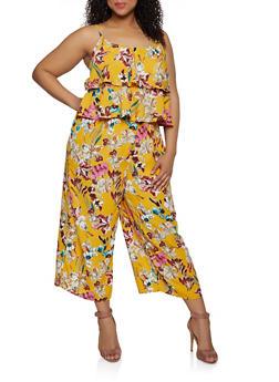 Plus Size Floral Ruffle Jumpsuit - 0392051061291