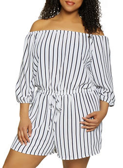 Plus Size Crepe Knit Off the Shoulder Romper - 0392051061295