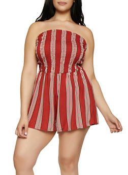 Plus Size Striped Smocked Tube Romper - 0392051061297