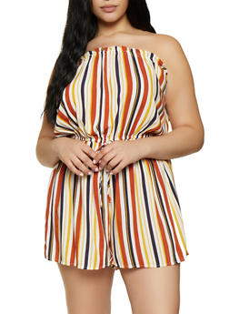 Plus Size Striped Tube Romper - 0392051061318