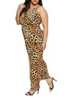 Plus Size Faux Wrap Leopard Palazzo Jumpsuit - 0392051061338