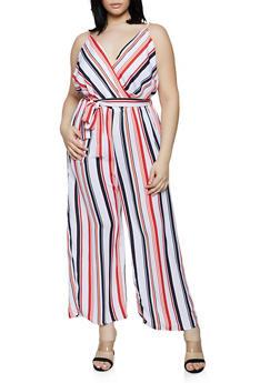 Plus Size Vertical Stripe Faux Wrap Jumpsuit - 0392051061347