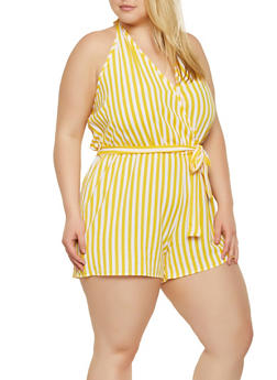 Plus Size Striped Open Back Romper - 0392051061379
