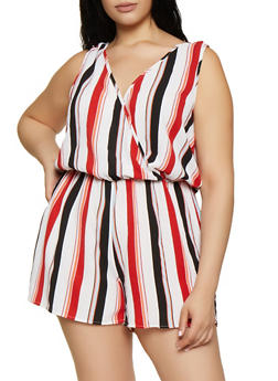 Plus Size Striped Plunge Faux Wrap Romper - 0392051061401