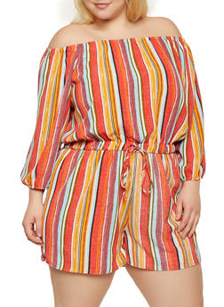 Plus Size Off the Shoulder Striped Romper - 0392051061408