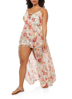Plus Size Floral Caged Neck Maxi Romper - 0392051062092