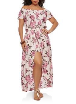 Plus Size Off the Shoulder Maxi Romper - 0392051062117