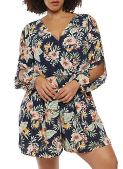 Plus Size Floral Romper with Long Sleeves - 0392051062124