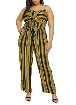 Plus Size Tie Front Striped Palazzo Jumpsuit - 0392051062290