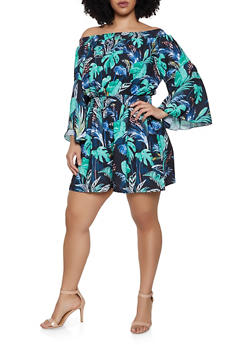 Plus Size Leaf Print Off the Shoulder Romper - 0392051062311