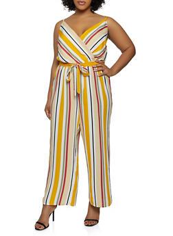 Plus Size Striped Faux Wrap Cami Jumpsuit - 0392051062347