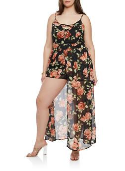 Plus Size Floral Maxi Romper - 0392051063092