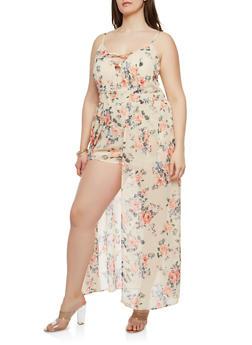 6387c7f3d5c07 Plus Size Floral Maxi Romper - PEACH - 0392051063092