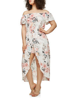 Plus Size Printed Maxi Romper - IVORY - 0392051063117