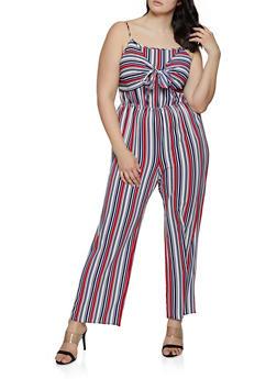 Plus Size Vertical Stripe Tie Front Jumpsuit - 0392051063290