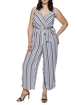 Plus Size Striped Faux Wrap Palazzo Jumpsuit - 0392051063347