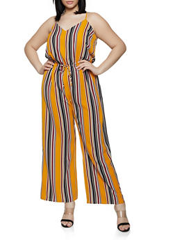 Plus Size Striped Faux Drawstring Palazzo Jumpsuit - 0392054260747